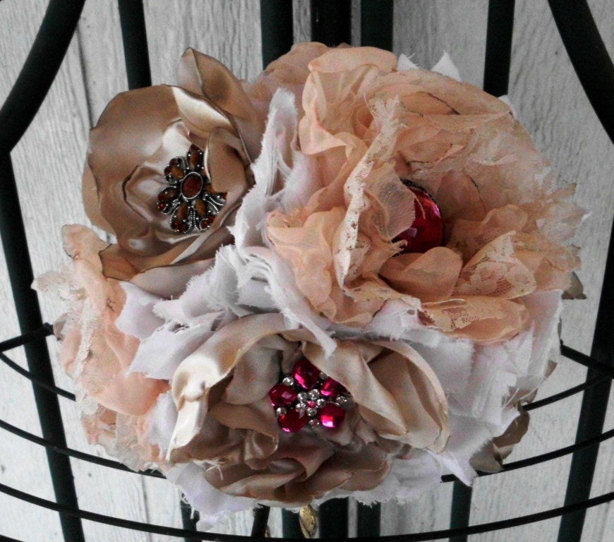 Custom Fabric Flower Wedding Bouquet, bouquet brooch, Chiffon Lace Satin Ruffle Roses, Country, Vintage, Rustic,  Bridal, weddings