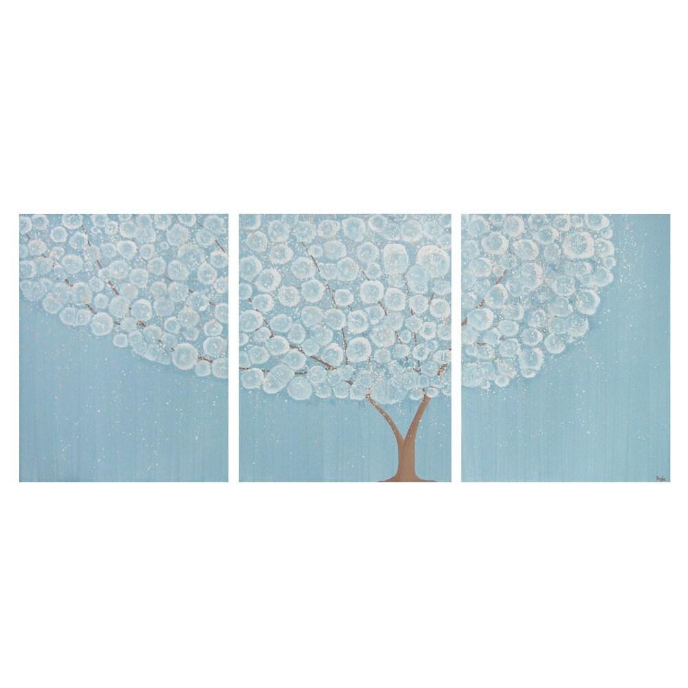 Original Painting - 50X20 Acrylic Triptych - Powder Blue Flowering Tree