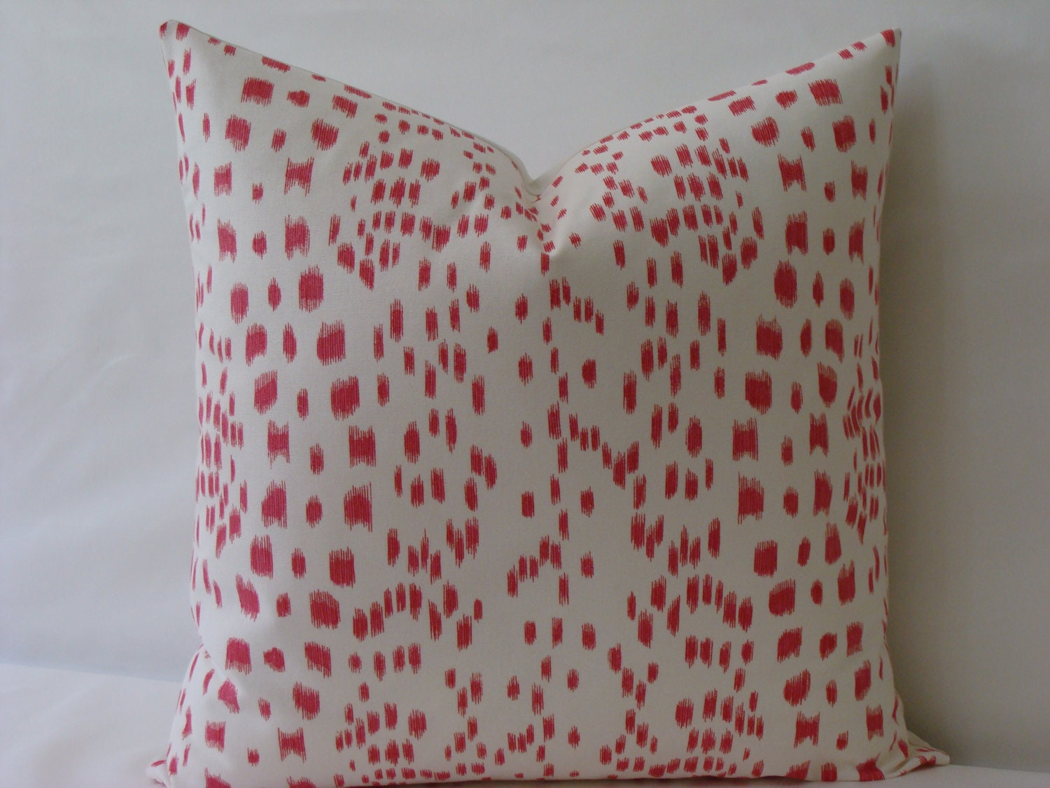 "Les Touches Brunschwig and Fils Print in Pink/Coral - 20"" x 20"" Decorative Designer Pillow Cover"