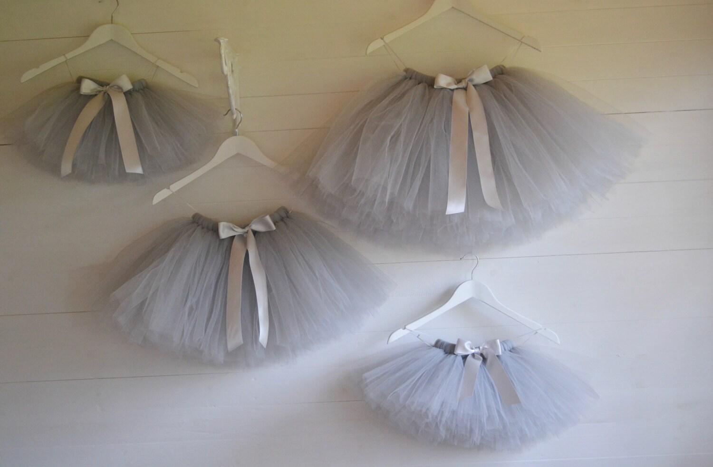Girls tutu Flower Girl knee length Silver Grey tutu skirt ballet tutu tutu skirt baby tutu tulle skirt tulle tutu flower girl dress