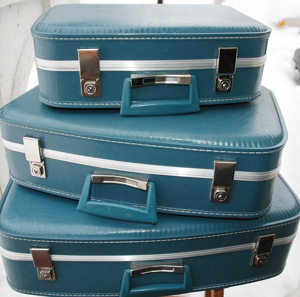 Vintage Set of BLUE Luggage - COMPLETE 6 Piece Set