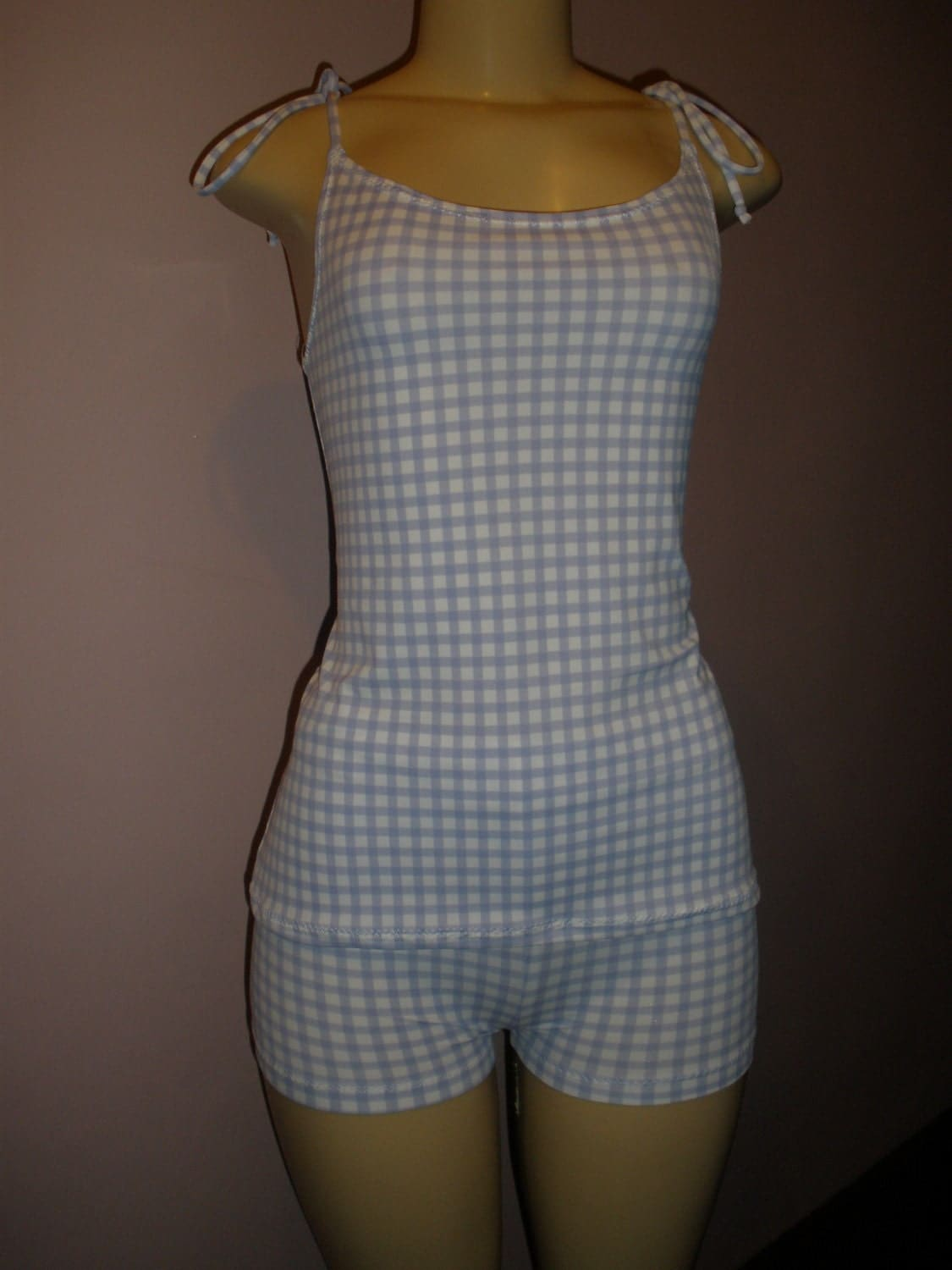 2 Piece Adorable Light Blue and White Plaid Print Swim Suit Top and Shorts Set, Women Swim Suit, Teenage Girl Swim Suit, Ladies Swim Suit