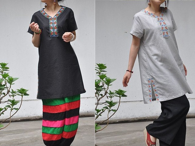Chinese embroidery V Neck loose Short sleeve long by sanghema from etsy.com