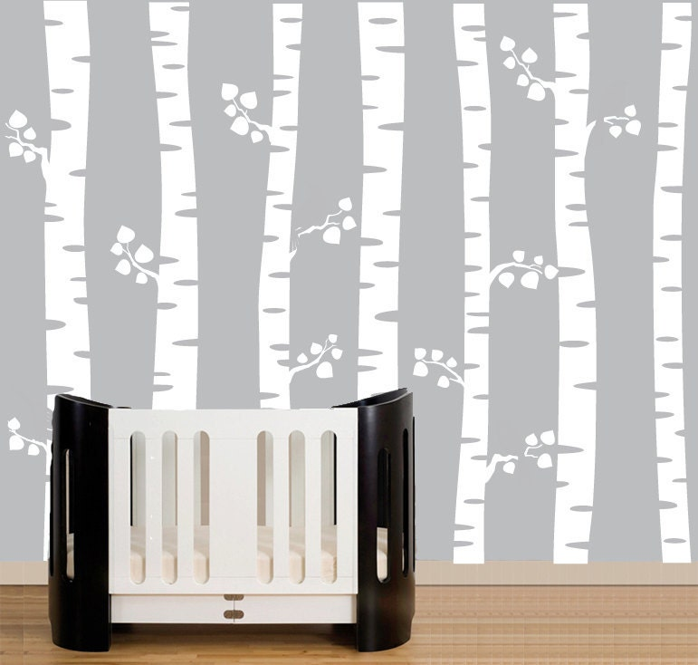 Nursery wall decals white birch trees wall decal by for Birch tree wall mural