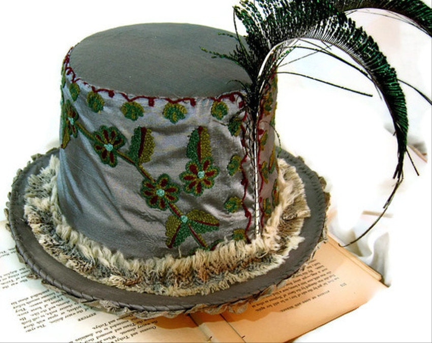 Gray Silk Top Hat / Upcycled
