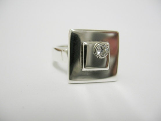 Double Square Ring with Off Set White CZ in Sterling Silver