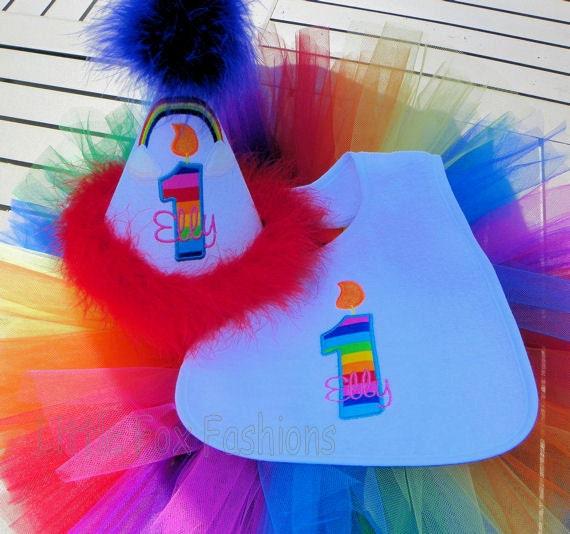 2 Piece Lollipop Swirl Rainbow Tutu Set Includes Personalized Applique Shirt and Tutu