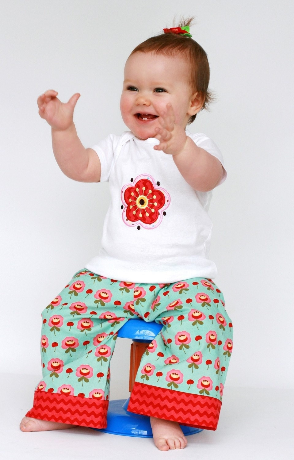 Flower Power Big Butt Baby Cloth Diaper Pants and Onesie - 6 months