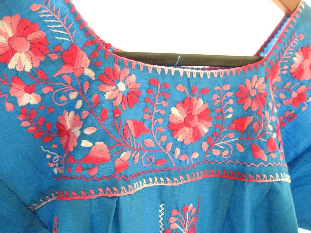 Mexican embroidered blue tunic mini dress