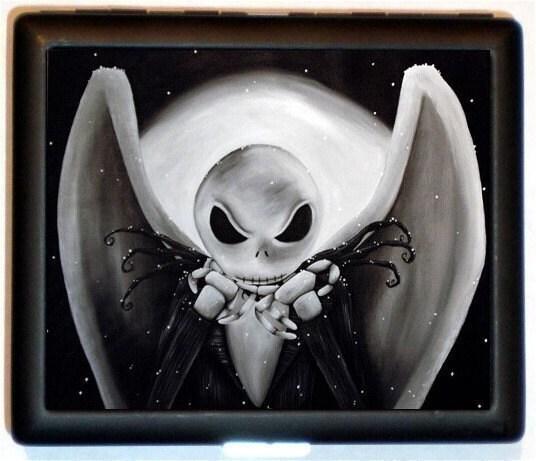 Nightmare Halloween Jack Skull black and white Closeup Head Horror Handmade DIY Design Black Metal Cigarette or ID or Business or ID Case Wallet