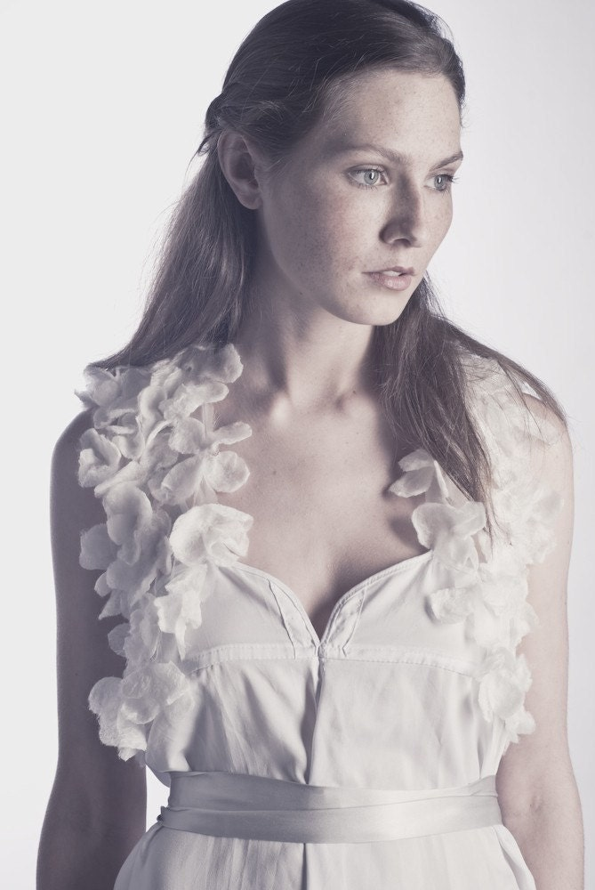 Bianca Nuno Silk Petal Shrug
