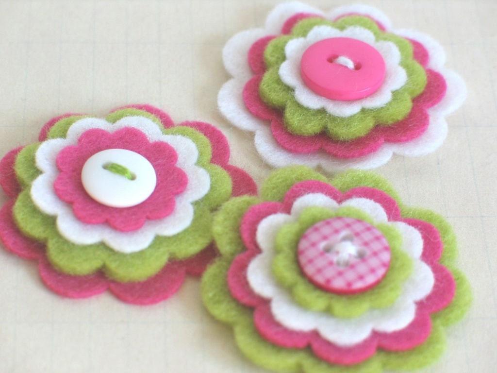 ЛЕТО ДЕВОЧКА войлока Цветы - Набор из 3 ручной белый, лайм и розовый Войлок слоистых Цветы