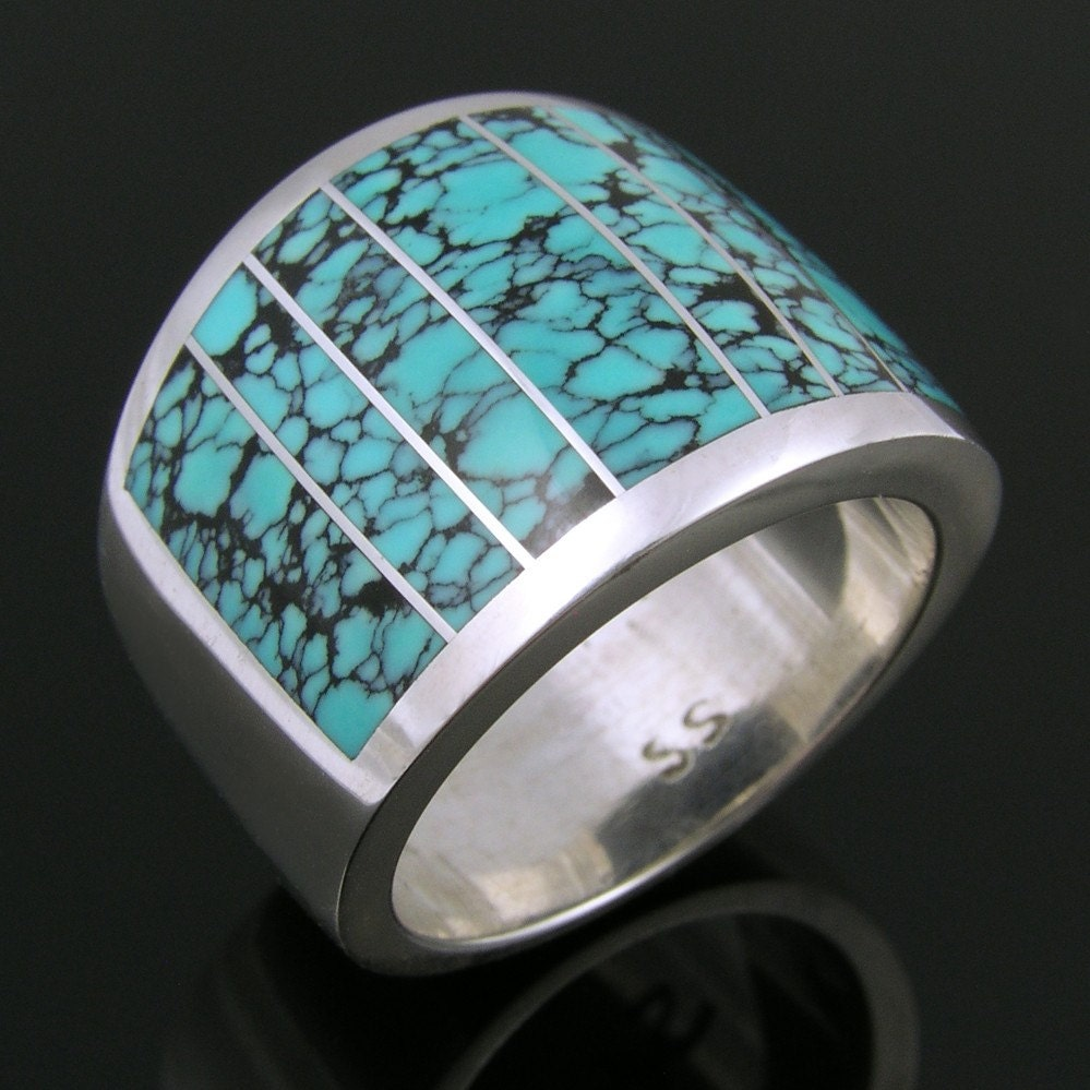 Southwest sterling silver ring inlaid with spiderweb turquoise from etsycom