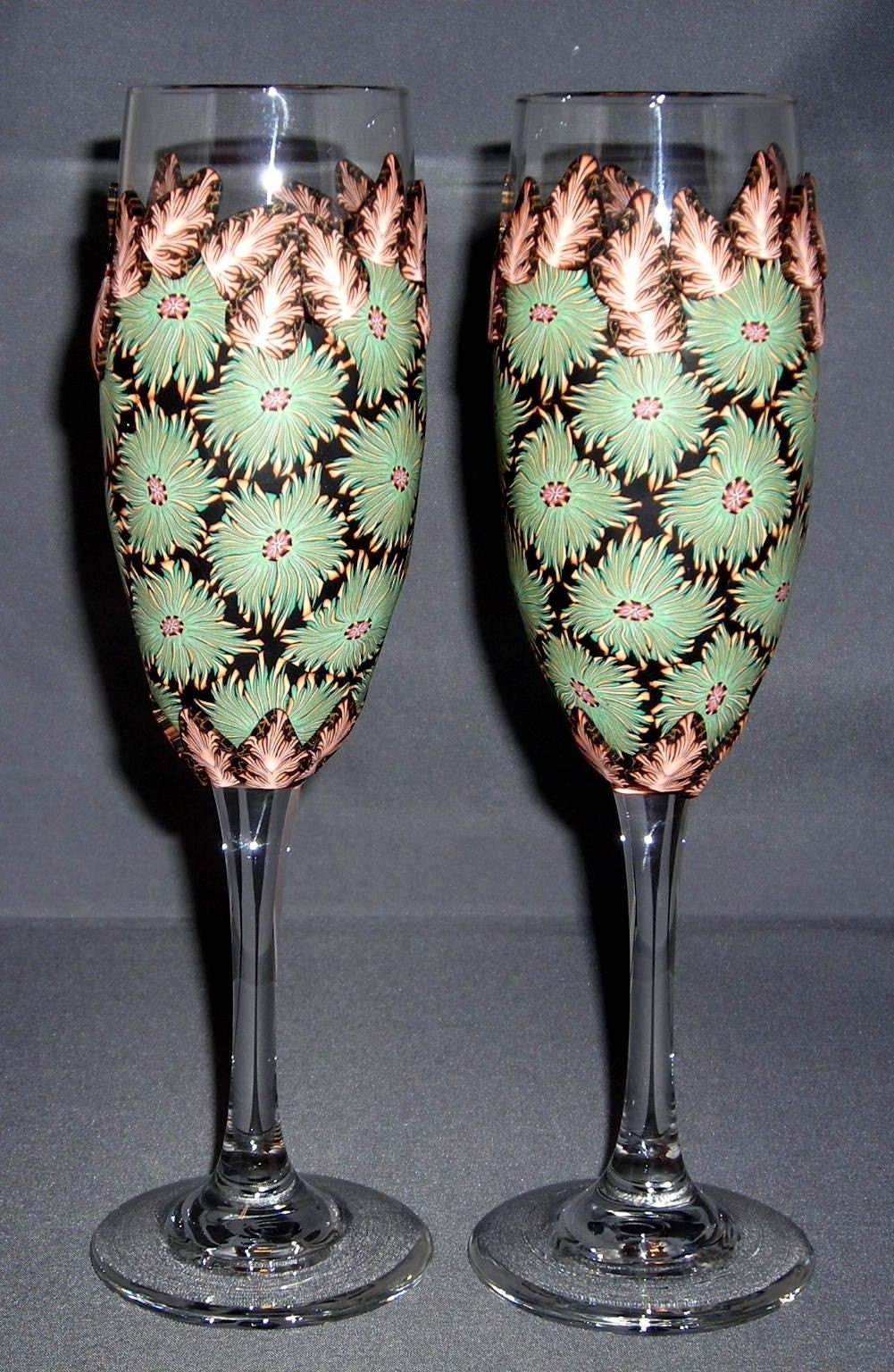 Handmade Polymer Clay Wedding Toasting Flutes One of a Kind Lovely