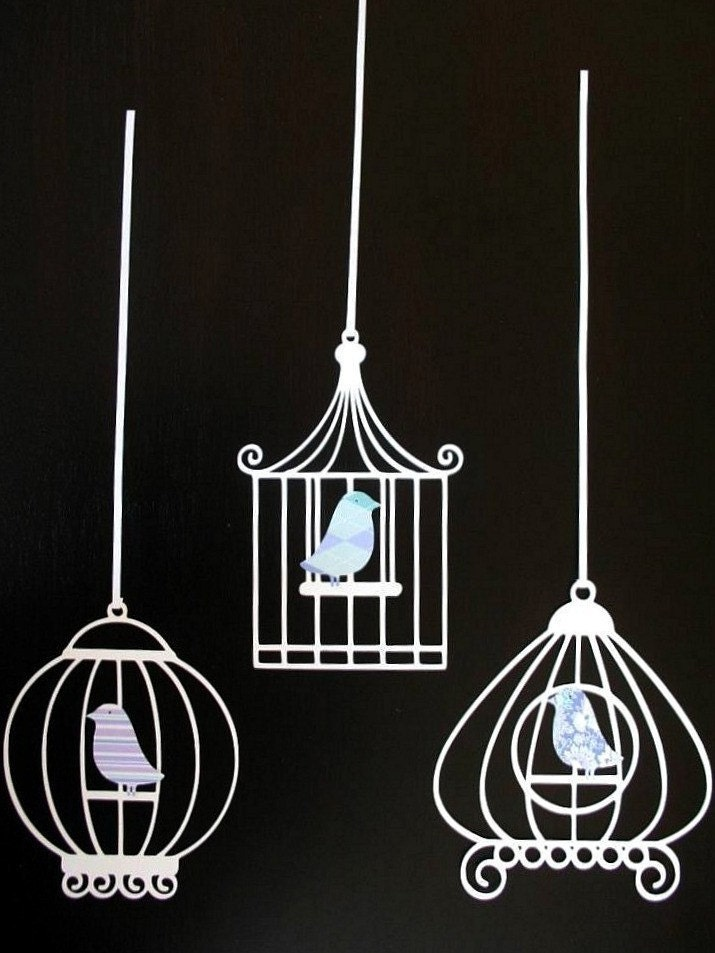 Set of Three Sweet Paper Bird Cages by LittleRetreats on Etsy from etsy.com