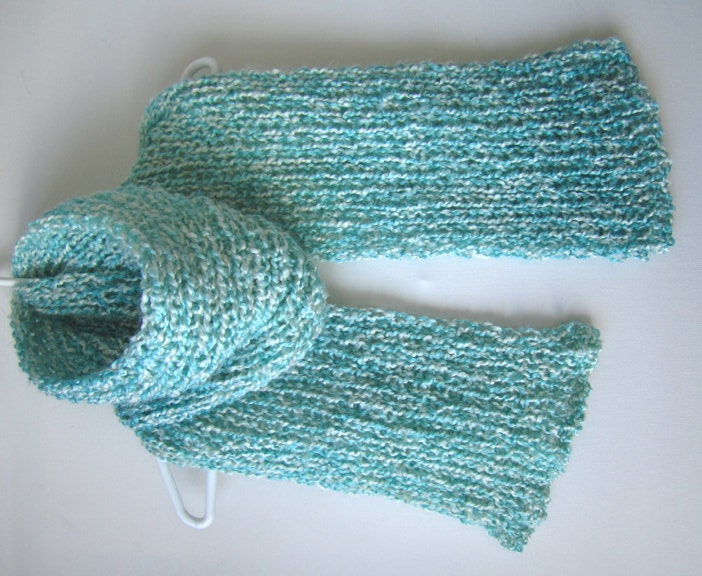 Knit Scarf Pattern Homespun Yarn : Lion Brand Homespun Knitted Aqua and White by SpruceinWinter