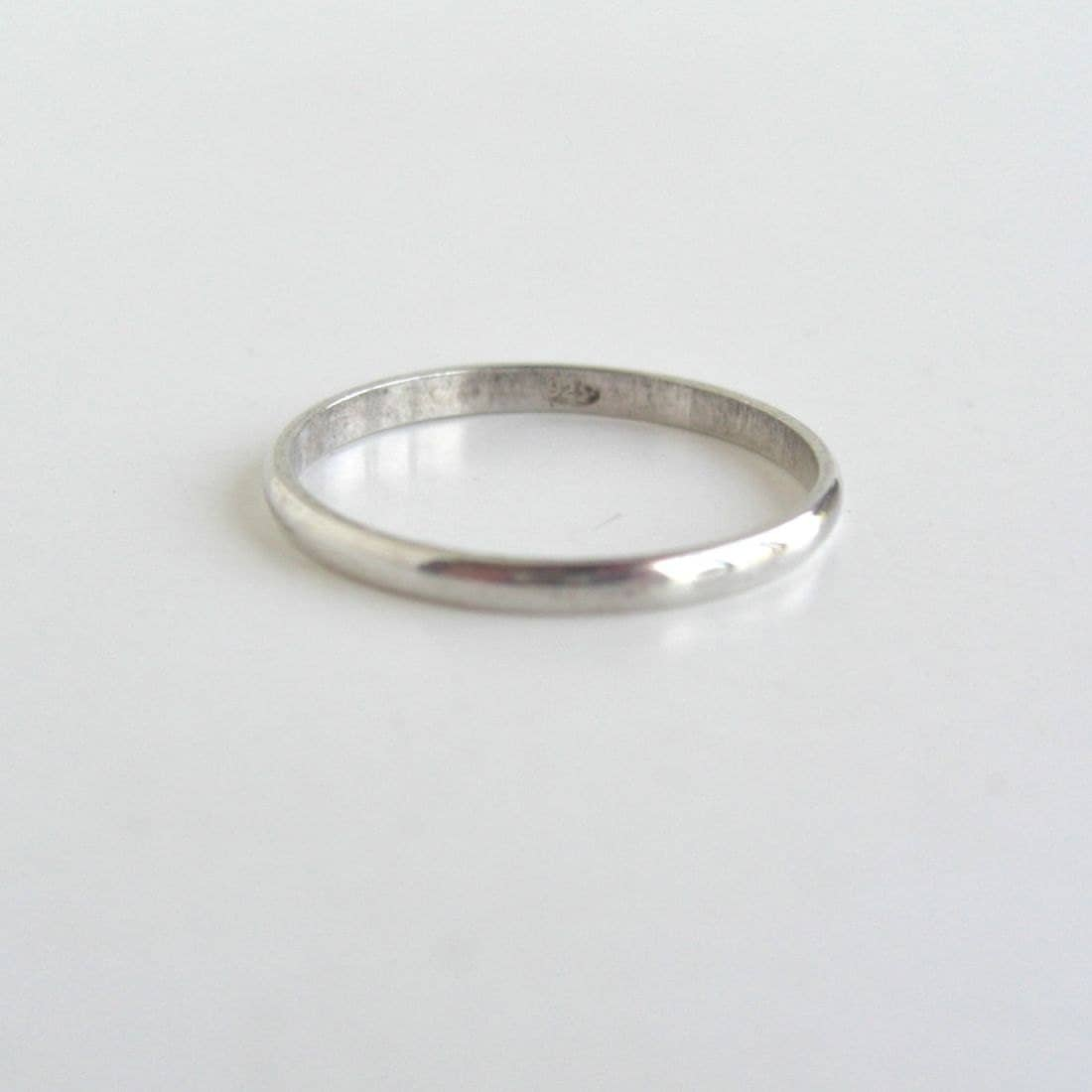 thin 925 sterling silver ring band size 10 25 by lucra