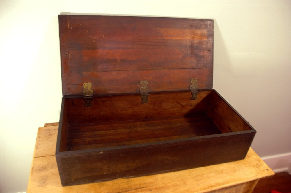 Long  Old Hinged Wood Box Or Cabinet