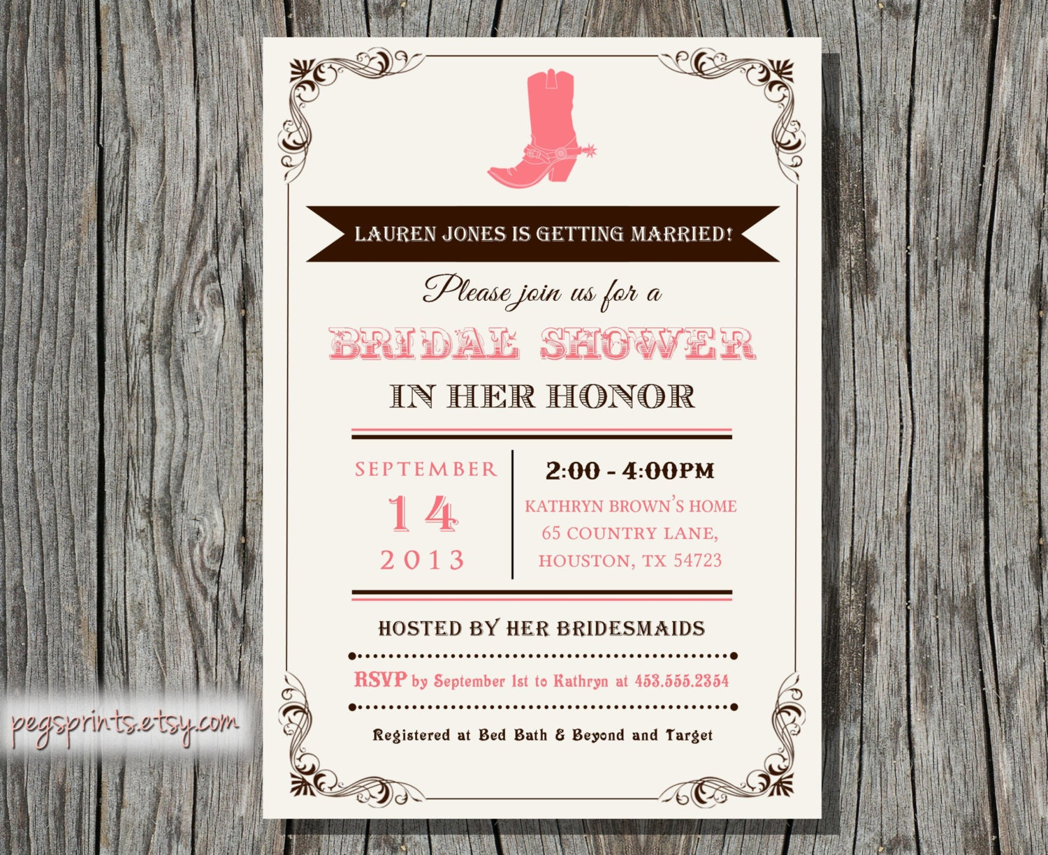 Country Western Bridal Shower Invitation (Printable)