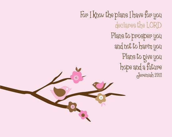 Jeremiah 29:11 Print - Cherry Blossom