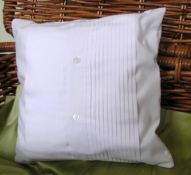 White Pleated UpCycled Tuxedo Pillow