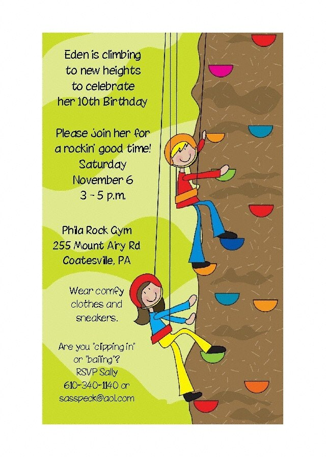Rock Climbing Kids Party Invitations 2 by PracticallyDarling