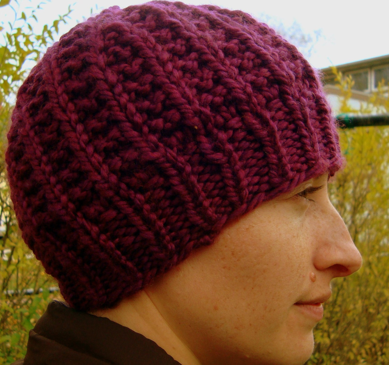 SALE Black Friday/Cyber Monday- Hand Knit Cozy Hat in Cranberry - KnitMomWi