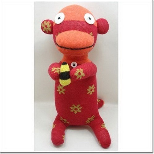 Handmade Sock Monkey Stuffed Animal Doll Baby Toys