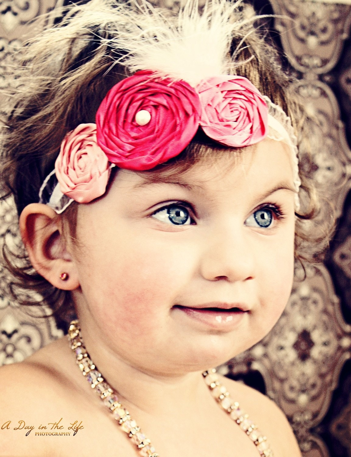 Toddler Shades of Pink - Vintage Inspired Satin Rolled Rosetted Skinny Headband with Pearl Center