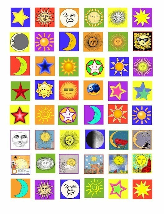 sun moon stars celestial clip art digital download collage sheet 1 inch