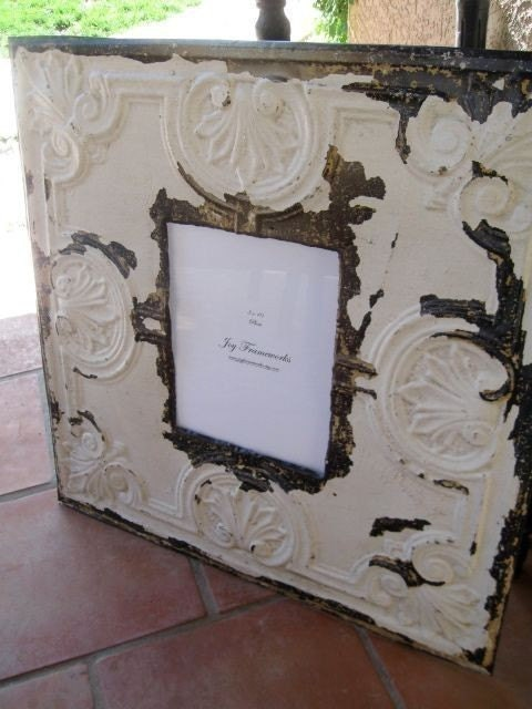 HUGE Antique Ceiling Tin Tile 8x10 Picture Frame LARGE 24x24 2ft