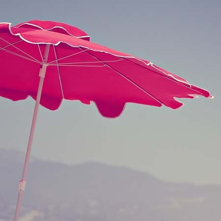 Red Beach Umbrella - 5x5 Original Fine Art Landscape Photograph - dreamt elitett - AmeliaKayPhotography