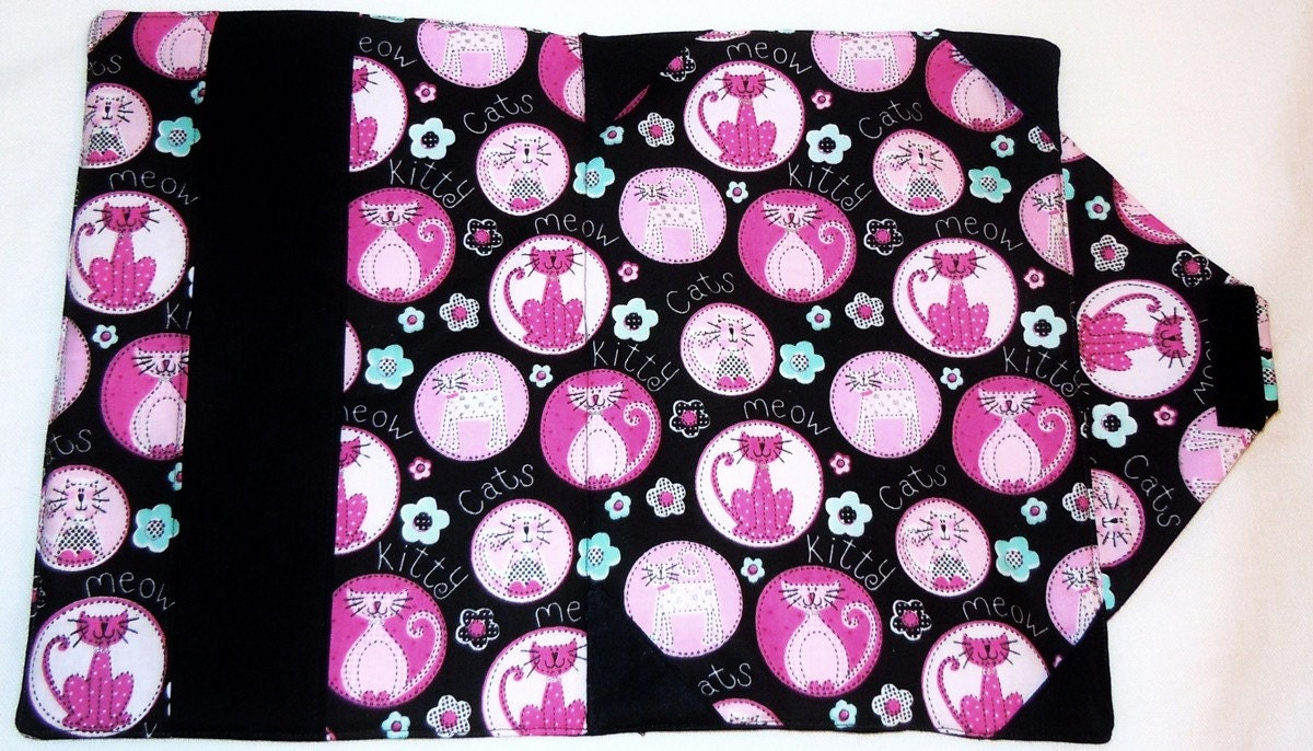 Hot Pink and black cat patter iPad case