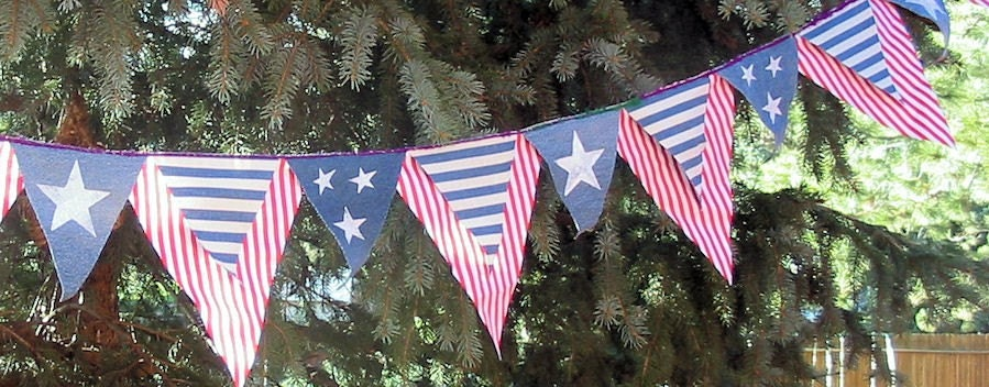 Stars and Stripes Large Pennants  Recycled Denim US shipping included
