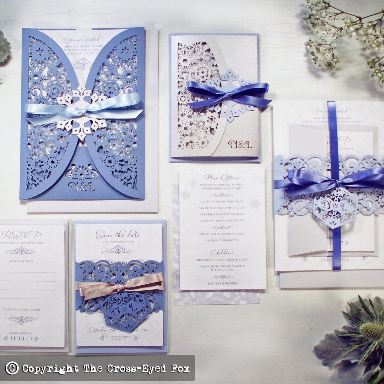 Winter Wedding invitation Laser cut wedding stationery suite December wedding invite Christmas wedding invite Snowflake wedding invite