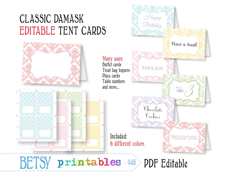 Editable buffet card printable tent card by betsyprintables for Printable tent card