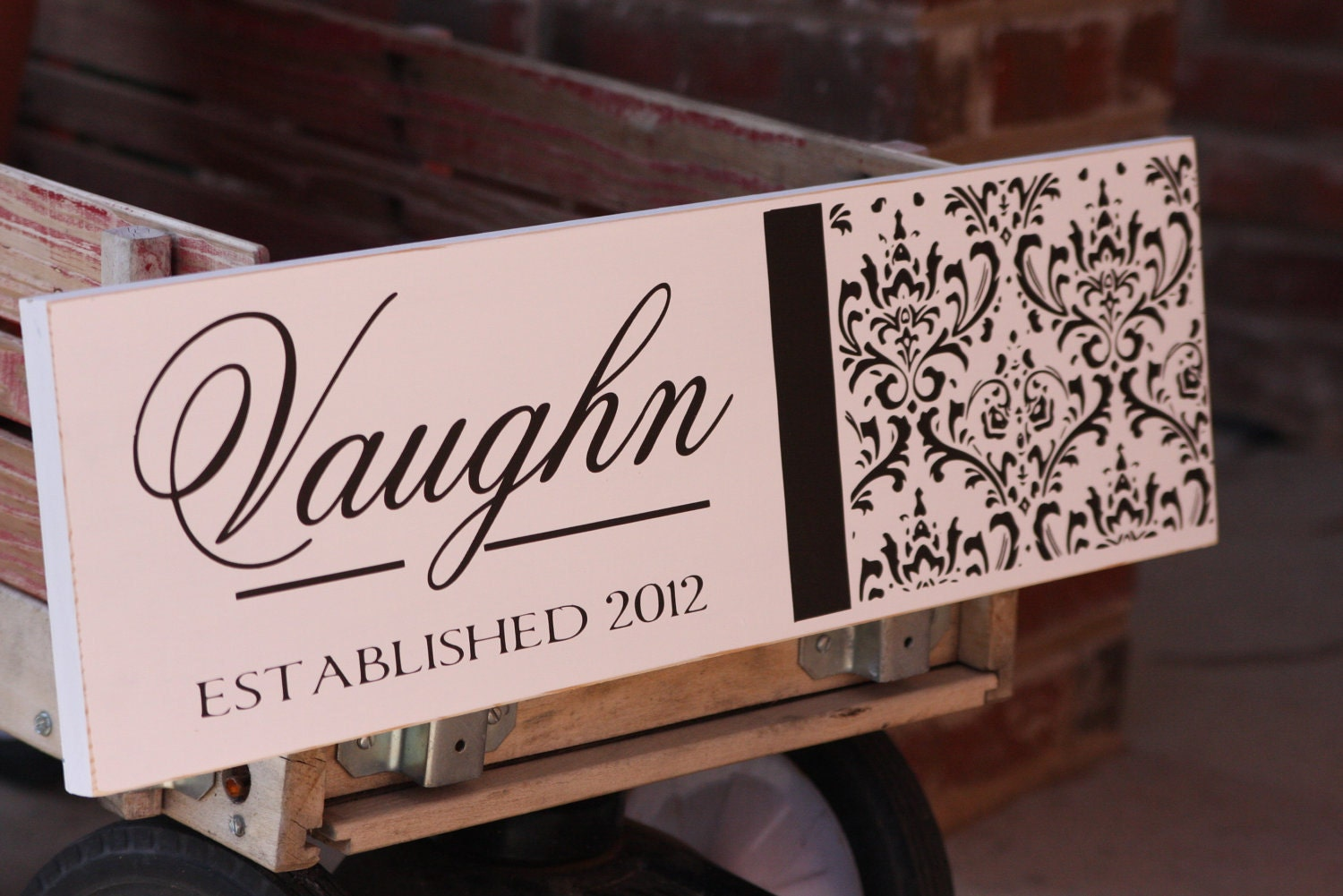 Clasic Damask Sign - Last Name sign with established year- great wedding or bridal shower gift