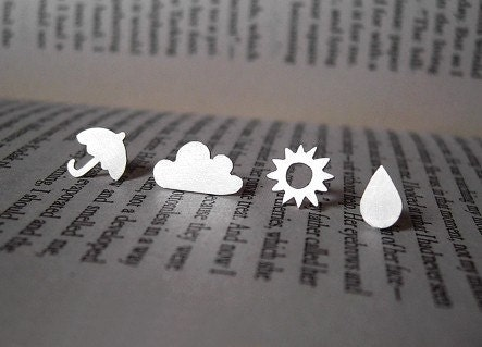 sterling silver weather forecast ear studs (1 pair), handmade in Cornwall, UK - huiyitan