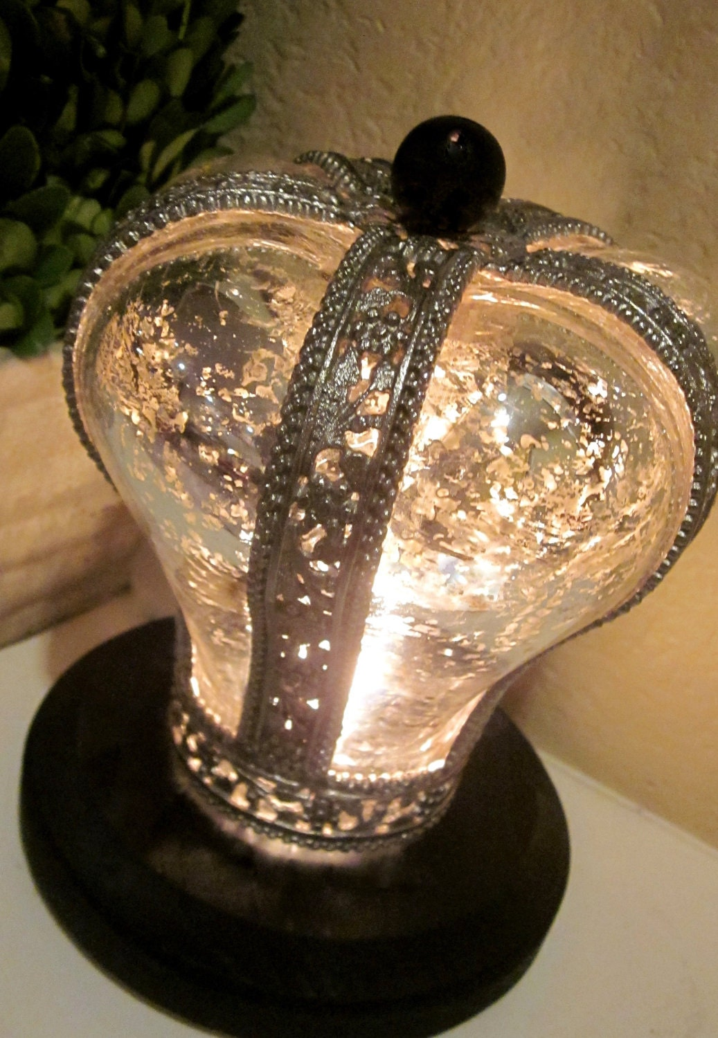 Mercury Glass Crown Accent Light Night Light - Home Decor