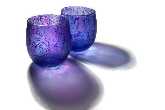 Violet Purple Candle Votive Tealight Holders Matched Set - dreamers3