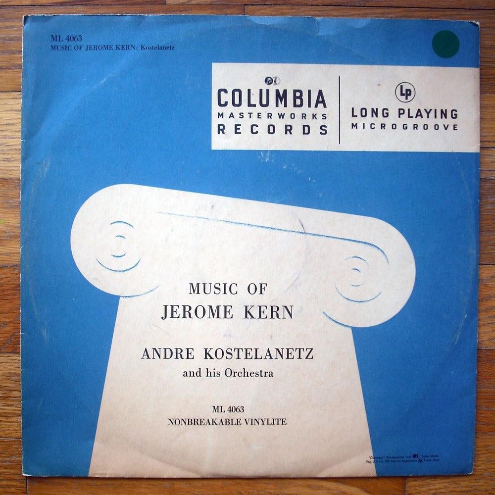 """Alex Steinweiss record album design, c.1948. """"Music of Jerome Kern"""" LP"""