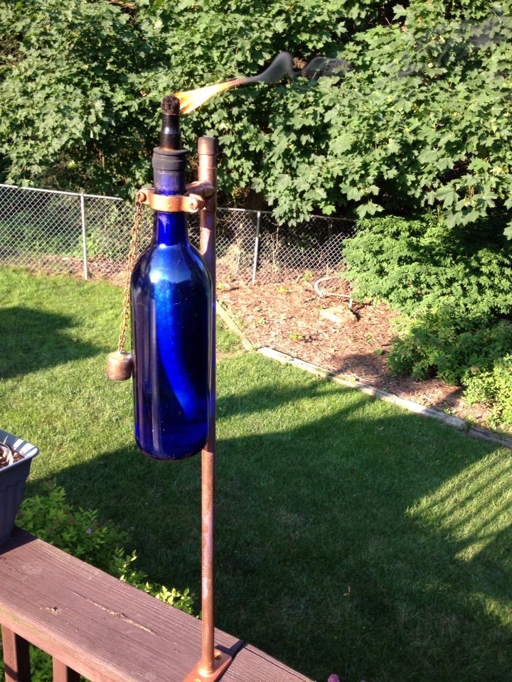 Outdoor Copper Wine Bottle Tiki Torch Kit by KnobhillCrafts