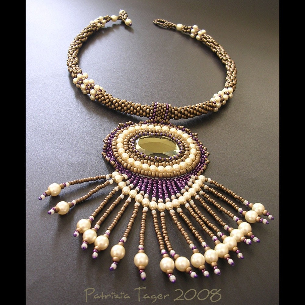 Green, Purple and Pearl Necklace