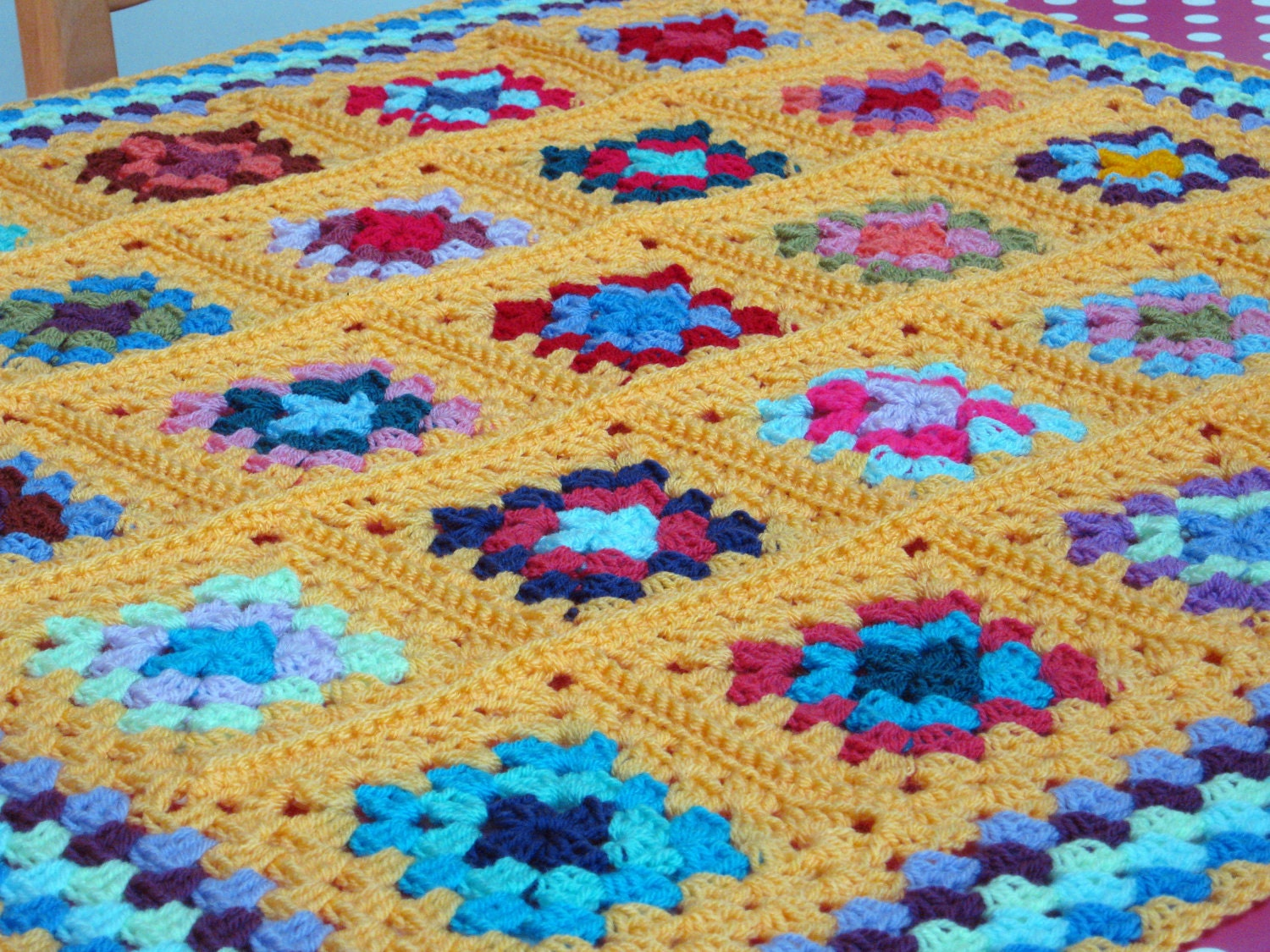 Bright Vibrant SUNSHINE Yellow Crochet Granny Square Blanket Afghan Throw