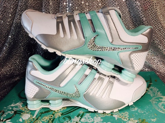 timeless design 29754 27bcb hot sale 2017 Blinged Nike Womens NIKE Shox Current Shoes TEAL by Blingsshop
