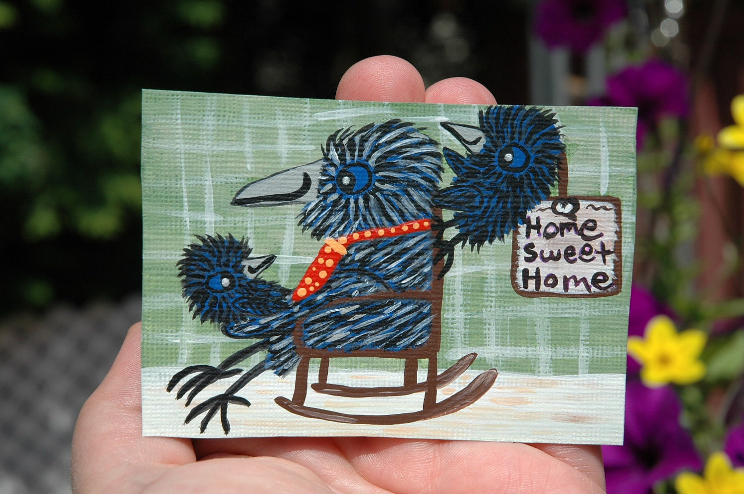 Grandpa Crow and The Grand Baby Crows, Original Aceo