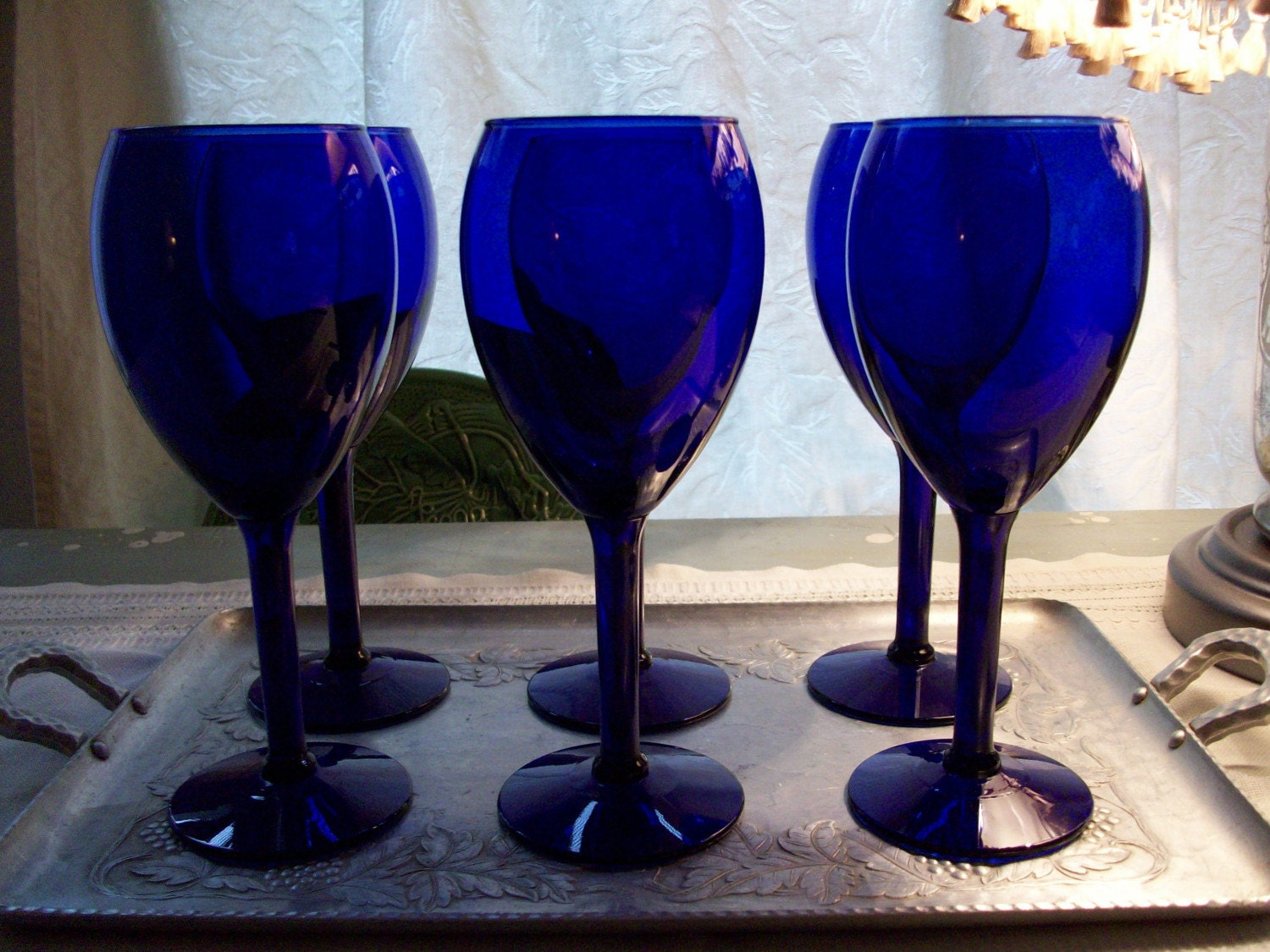 6 Vintage Cobal Blue Wine Glasses