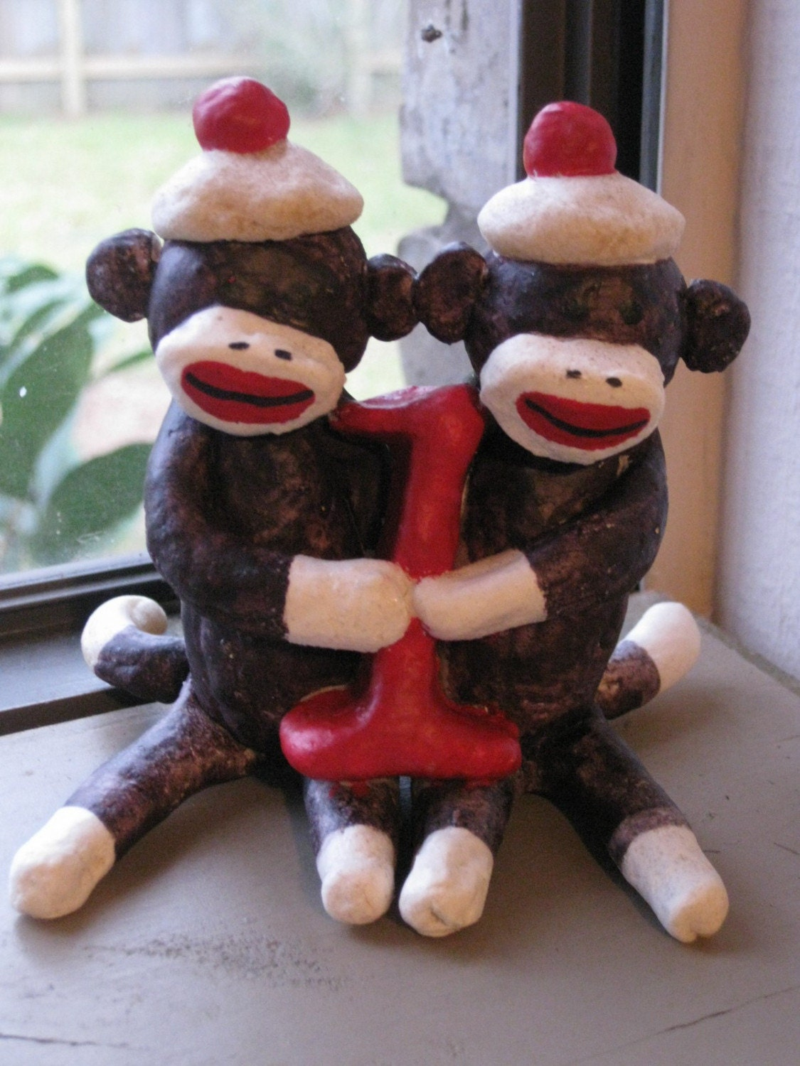 twin sock monkey cake topper