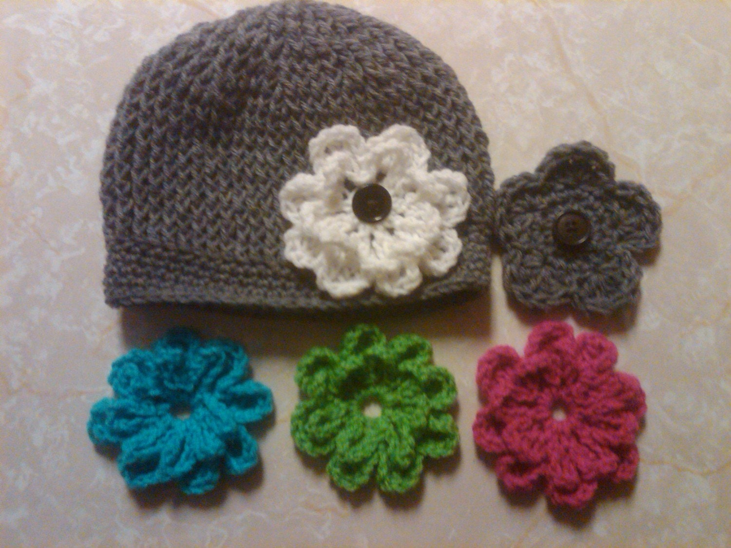 crocheted hat and hair clip with interchangeable flowers for newborns toddlers teens adult...free shipping