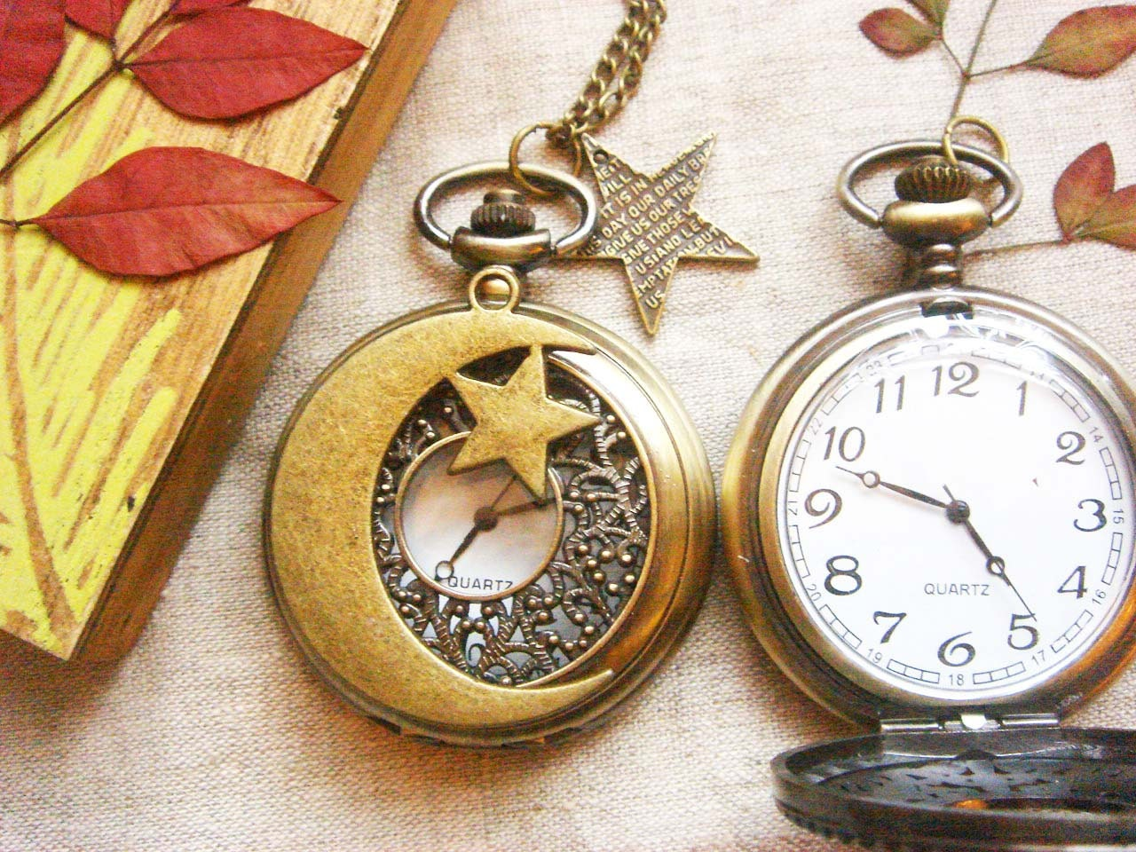 Antique Moon and Star charm Pocket Watch Necklace